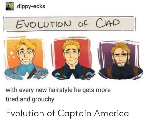 hairstyle: dippy-ecks  EvouuTION oF CAP  with every new hairstyle he gets more  tired and grouchy Evolution of Captain America
