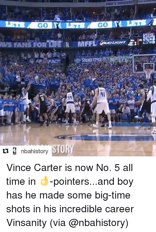 "Sports, Vince Carter, and Incredibles: DIRIE'5 DUNKERS  GO  GO  AUS FANS FORTER MFFLlaouGHT E:I""Nag  LIGHT  SOUND STAGE  '3g  34  nbahistory  STOR Vince Carter is now No. 5 all time in 👌-pointers...and boy has he made some big-time shots in his incredible career Vinsanity (via @nbahistory)"