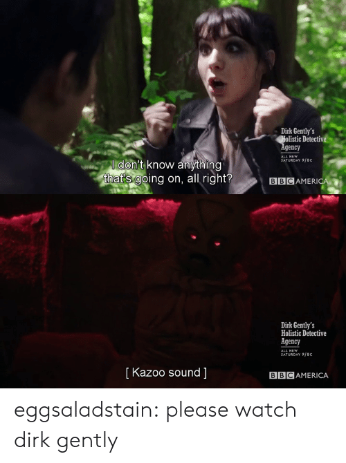 Target, Tumblr, and Blog: Dirk Gently's  Holistic Detectiv  gency  SATURDAY 9/8C  ldon't know anything  that's going on, all right?  BBCAMERICA   Dirk Gently's  Holistic Detective  Agency  SATURDAY 9/8C  [ Kazoo sound ]  BBCAMERICA eggsaladstain: please watch dirk gently