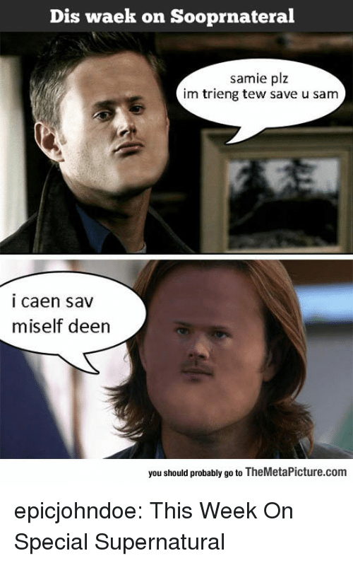 Tumblr, Blog, and Supernatural: Dis waek on Sooprnateral  samie plz  im trieng tew save u sam  i caen sav  miself deen  you should probably go to TheMetaPicture.com epicjohndoe:  This Week On Special Supernatural