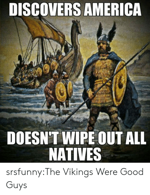 America, Tumblr, and Blog: DISCOVERS AMERICA  DOESN'T WIPE OUT ALL  NATIVES srsfunny:The Vikings Were Good Guys