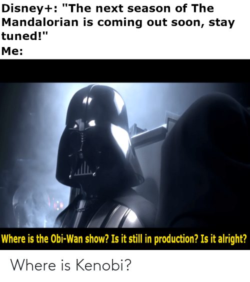 "Is Coming: Disney+: ""The next season of The  Mandalorian is coming out soon, stay  tuned!""  Me:  Where is the Obi-Wan show? Is it still in production? Is it alright? Where is Kenobi?"
