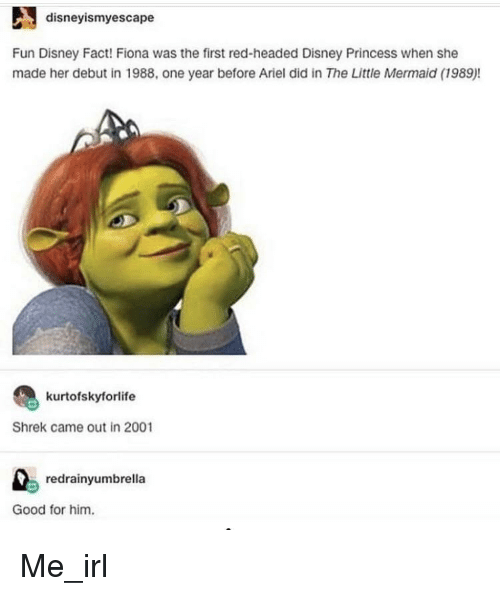The Little Mermaid: disneyismyescape  Fun Disney Fact! Fiona was the first red-headed Disney Princess when she  made her debut in 1988, one year before Aiel did in The Little Mermaid (1989)!  kurtofskyforlife  Shrek came out in 2001  redrainyumbrella  Good for him. Me_irl