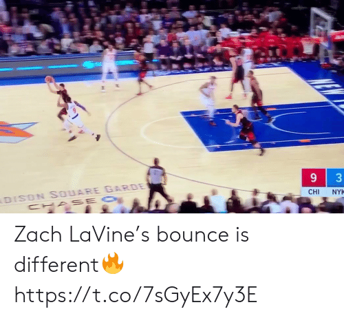 Zach: DISON SOUARE GARDE  CHA SE O  CHI  NYK  3 Zach LaVine's bounce is different🔥 https://t.co/7sGyEx7y3E