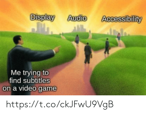 Video Games, Game, and Video: Display  Audio  Accessibility  Me trying to  find subtitles  on a video game https://t.co/ckJFwU9VgB