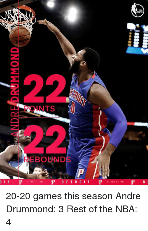 Drummond: DIT P  EBOUND  P DETROIT  P  P D 20-20 games this season Andre Drummond: 3 Rest of the NBA: 4