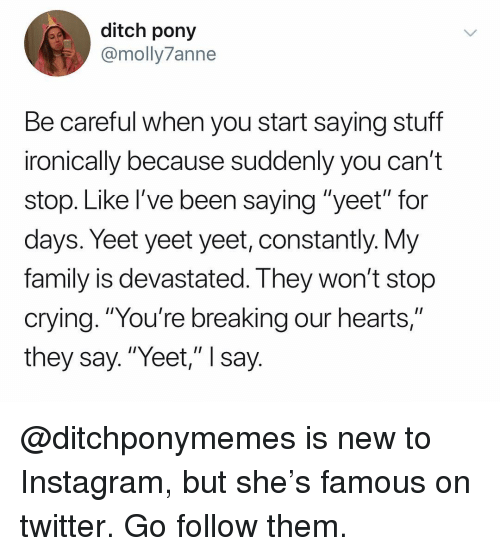 "Crying, Family, and Instagram: ditch pony  @molly7anne  Be careful when you start saying stuff  ironically because suddenly you can't  stop. Like I've been saying ""yeet"" for  days. Yeet yeet yeet, constantly. Vy  family is devastated. I hey won't stop  crying. ""You're breaking our hearts,""  they say.""Yeet,"" I say @ditchponymemes is new to Instagram, but she's famous on twitter. Go follow them."