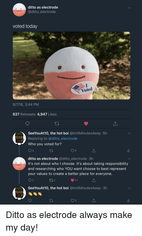 ditto: ditto as electrode  @ditto_electrode  voted today  Voted  8/7/18, 3:44 PM  637 Retweets 4,947 Likes  SeeYouAt10, the hot boi @lm5MinutesAway 5h  Replying to @ditto_electrode  Who you voted for?  4  5  ditto as electrode @ditto_electrode 3h  it's not about who I choose. It's about taking responsibility  and researching who YOU want choose to best represent  your values to create a better place for everyone.  2  t02  83  SeeYouAt10, the hot boi @lm5MinutesAway 3h Ditto as electrode always make my day!