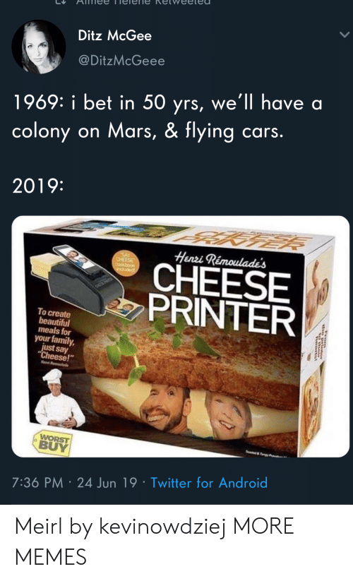 """henri: Ditz McGee  @DitzMcGeee  1969: i bet in 50 yrs, we'll have a  colony on Mars, & flying cars.  2019:  Henri Rémoulade's  SAY  CHEESE  CHEESE  PRINTER  induded  To create  beautiful  meals for  your family,  just say  """"Cheese!  Hen R  WORST  BUY  e&y  7:36 PM 24 Jun 19 Twitter for Android  rom Meirl by kevinowdziej MORE MEMES"""