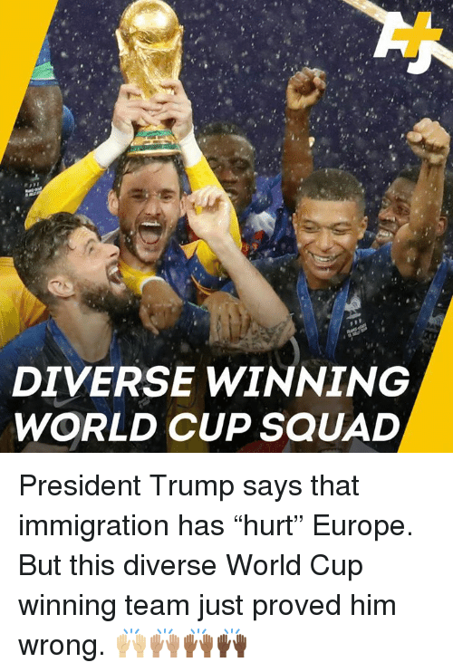 """Memes, Squad, and World Cup: DIVERSE WINNING  WORLD CUP SQUAD President Trump says that immigration has """"hurt"""" Europe. But this diverse World Cup winning team just proved him wrong. 🙌🏼🙌🏽🙌🏾🙌🏿"""