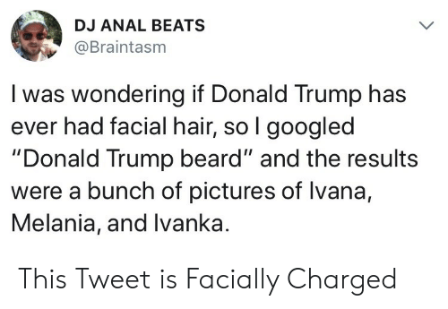 """Ivanka: DJ ANAL BEATS  @Braintasm  I was wondering if Donald Trump has  ever had facial hair, so l googled  """"Donald Trump beard"""" and the results  were a bunch of pictures of lvana,  Melania, and Ivanka. This Tweet is Facially Charged"""
