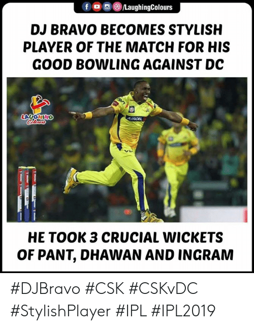 Pant: DJ BRAVO BECOMES STYLISH  PLAYER OF THE MATCH FOR HIS  GOOD BOWLING AGAINST DC  HE TOOK 3 CRUCIAL WICKETS  OF PANT, DHAWAN AND INGRAM #DJBravo #CSK #CSKvDC #StylishPlayer #IPL #IPL2019