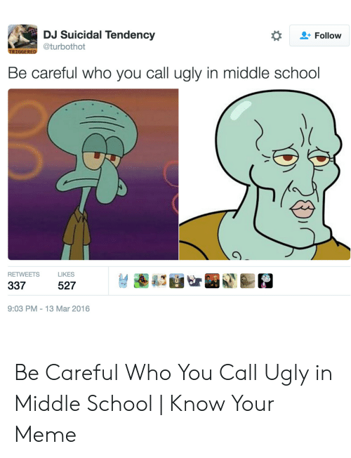 Middle School Memes: DJ Suicidal Tendency  Follow  @turbothot  TRIGGERED  Be careful who you call ugly in middle school  RETWEETS  LIKES  337  527  9:03 PM 13 Mar 2016  G Be Careful Who You Call Ugly in Middle School | Know Your Meme