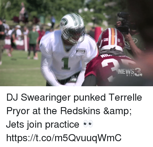 Nfl, Washington Redskins, and Jets: DJ Swearinger punked Terrelle Pryor at the Redskins & Jets join practice 👀  https://t.co/m5QvuuqWmC