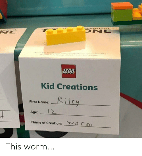 creations: DNE  NE  r CEGO e  LEGO  Kid Creations  Kilcy  First Name:  12  Age:  arm  Name of Creation: This worm…