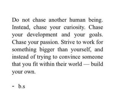 strive: Do not chase another human being.  Instead, chase your curiosity. Chase  your development and your goals.  Chase your passion, Strive to work for  something bigger than yourself, and  instead of trying to convince someone  that you fit within their world-build  your own