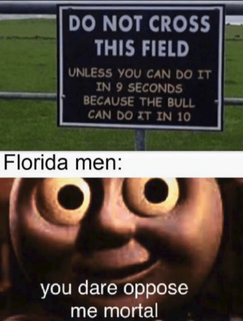 field: DO NOT CROSS  THIS FIELD  UNLESS YOU CAN DO IT  IN 9 SECONDS  BECAUSE THE BULL  CAN DO XT IN 10  Florida men:  you dare oppose  me mortal