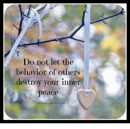 Lessoned: Do not let the  behavior of others  destroy your inner  peace  Lessons Learned In Life