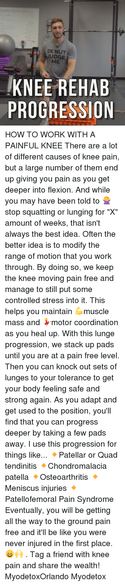 """Be Like, Memes, and Work: DO NUT  JUDGE  ME  KNEE REHAB  PROGRESSION HOW TO WORK WITH A PAINFUL KNEE There are a lot of different causes of knee pain, but a large number of them end up giving you pain as you get deeper into flexion. And while you may have been told to 🙅stop squatting or lunging for """"X"""" amount of weeks, that isn't always the best idea. Often the better idea is to modify the range of motion that you work through. By doing so, we keep the knee moving pain free and manage to still put some controlled stress into it. This helps you maintain 💪muscle mass and 💃motor coordination as you heal up. With this lunge progression, we stack up pads until you are at a pain free level. Then you can knock out sets of lunges to your tolerance to get your body feeling safe and strong again. As you adapt and get used to the position, you'll find that you can progress deeper by taking a few pads away. I use this progression for things like... 🔸Patellar or Quad tendinitis 🔸Chondromalacia patella 🔸Osteoarthritis 🔸Meniscus injuries 🔸Patellofemoral Pain Syndrome Eventually, you will be getting all the way to the ground pain free and it'll be like you were never injured in the first place.😄🙌 . Tag a friend with knee pain and share the wealth! MyodetoxOrlando Myodetox"""