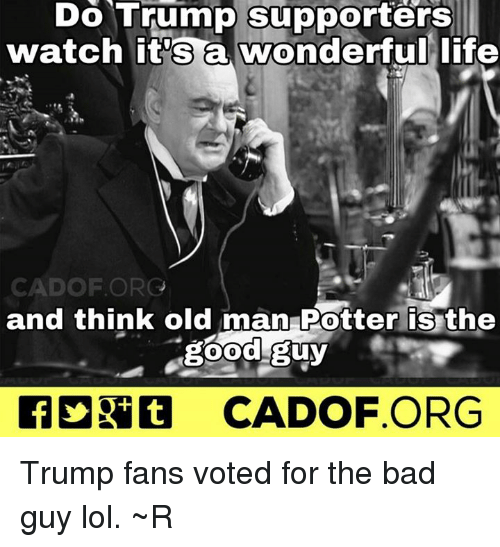 Memes, Old Man, and 🤖: Do Trump supporters  watch it's a wonderful life  CAD OF ORG  and think old man Potter is the  good guy  CADOF ORG Trump fans voted for the bad guy lol. ~R
