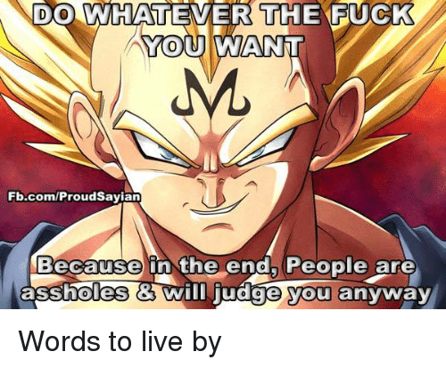 Memes, fb.com, and Asshole: DO WHATEVER THE F  YOU AWANNT  Fb.com/ProudSayian  Because in the end, People are  assholes Wim judge you anyway Words to live by