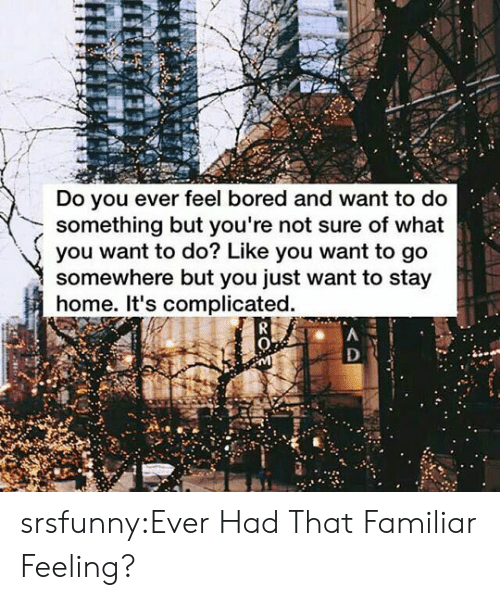 Bored, Tumblr, and Blog: Do you ever feel bored and want to do  something but you're not sure of what  you want to do? Like you want to go  somewhere but you just want to stay  home. It's complicated. srsfunny:Ever Had That Familiar Feeling?