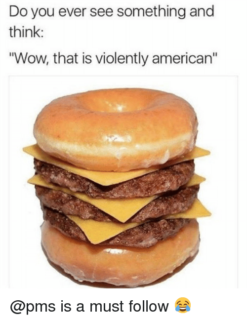 "Memes, Wow, and American: Do you ever see something and  think:  ""Wow, that is violently american"" @pms is a must follow 😂"