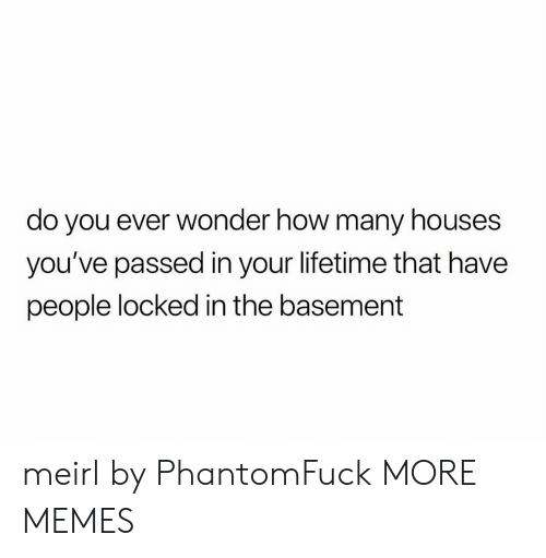 Dank, Memes, and Target: do you ever wonder how many houses  you've passed in your lifetime that have  people locked in the basement meirl by PhantomFuck MORE MEMES