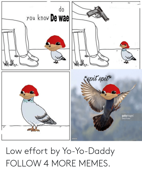 Yo Daddy: do  you knov De wae  pit spit  gettyimages  Dethan Punalur  493583125 Low effort by Yo-Yo-Daddy FOLLOW 4 MORE MEMES.