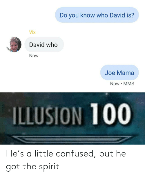 Illusion 100: Do you know who David is?  Vix  David who  Now  Joe Mama  Now MMS  ILLUSION 100 He's a little confused, but he got the spirit