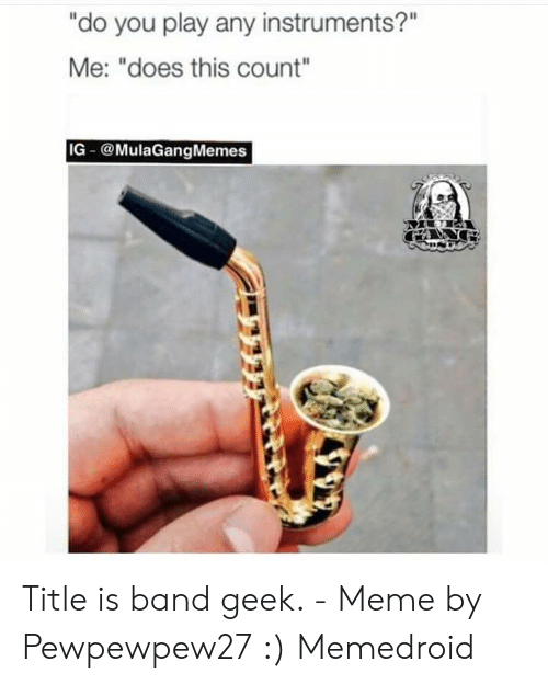 "Band Geek Meme: ""do you play any instruments?""  Me: ""does this count""  IG @MulaGangMemes Title is band geek. - Meme by Pewpewpew27 :) Memedroid"
