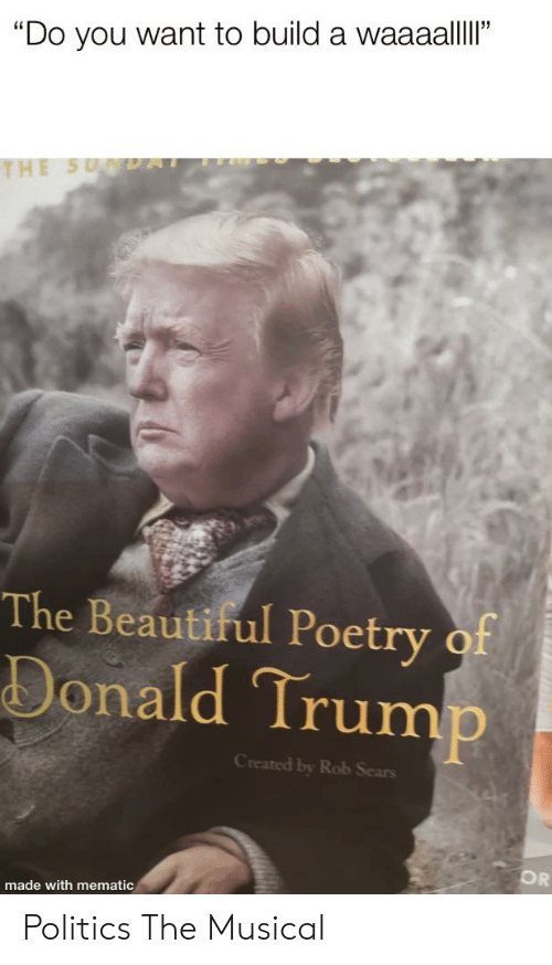 """Beautiful, Donald Trump, and Politics: """"Do you want to build a waaaalllI""""  THE SU DAT  The Beautiful Poetry of  Donald Trump  Created by Rob Sears  OR  made with mematic Politics The Musical"""