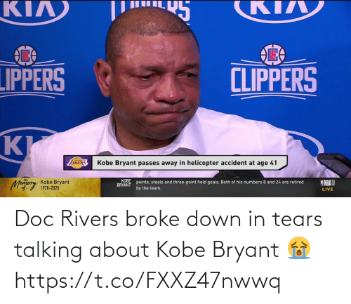 doc: Doc Rivers broke down in tears talking about Kobe Bryant 😭 https://t.co/FXXZ47nwwq