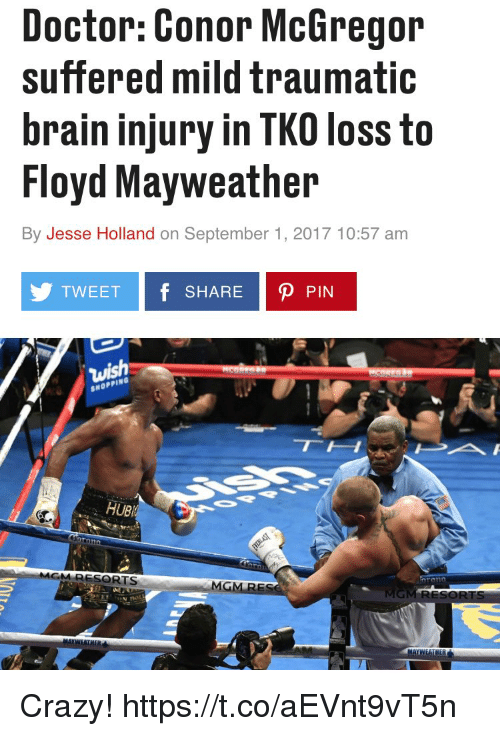 Conor McGregor, Crazy, and Doctor: Doctor: Conor McGregor  suffered mild traumatic  brain injury in TKO loss to  Floyd Mayweather  By Jesse Holland on September 1, 2017 10:57 am  TWEET f SHARE P PIN  SHOPPING  UB  RESORTS  MG Crazy! https://t.co/aEVnt9vT5n