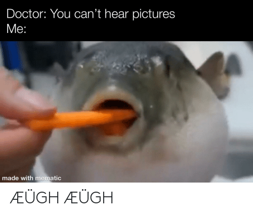 Doctor, Reddit, and Pictures: Doctor: You can't hear pictures  Me:  made with mematic ÆÜGH ÆÜGH