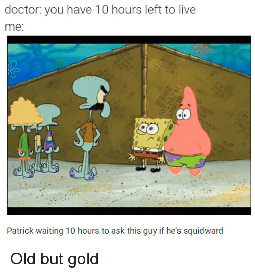 Doctor, Squidward, and Live: doctor: you have 10 hours left to live  me:  Patrick waiting 10 hours to ask this guy if he's squidward Old but gold