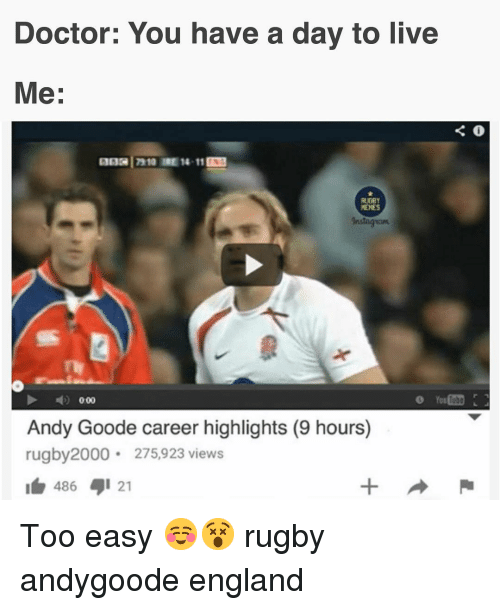 Doctor, England, and Memes: Doctor: You have a day to live  Me:  RUGBY  MEMES  Instagsom  O Yor  Andy Goode career highlights (9 hours)  rugby2000 275,923 views  486 1 21 Too easy ☺️😵 rugby andygoode england