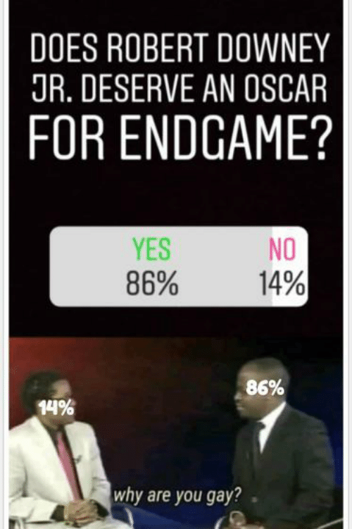 Robert Downey Jr., Robert Downey Jr, and Yes: DOES ROBERT DOWNEY  JR. DESERVE AN OSCAR  FOR ENDGAME?  YES  86%  NO  14%  86%  14%  why are you gay?