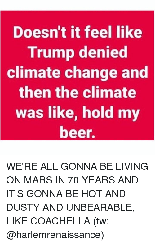 Beer, Coachella, and Memes: Doesn't it feel like  Trump denied  climate  change and  then the climate  was like, hold my  beer. WE'RE ALL GONNA BE LIVING ON MARS IN 70 YEARS AND IT'S GONNA BE HOT AND DUSTY AND UNBEARABLE, LIKE COACHELLA (tw: @harlemrenaissance)