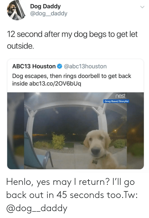 Abc13, Houston, and Nest: Dog Daddy  @dog_daddy  12 second after my dog begs to get let  outside.  ABC13 Houston@abc13houston  Dog escapes, then rings doorbell to get back  inside abc13.co/2OV6bUq  nest  Greg Basel/Storyful Henlo, yes may I return? I'll go back out in 45 seconds too.Tw: @dog__daddy