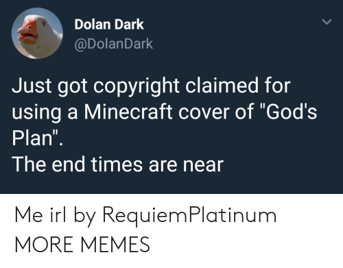 "Gods Plan: Dolan Dark  @DolanDark  Just got copyright claimed for  using a Minecraft cover of ""God's  Plan  The end times are near Me irl by RequiemPlatinum MORE MEMES"