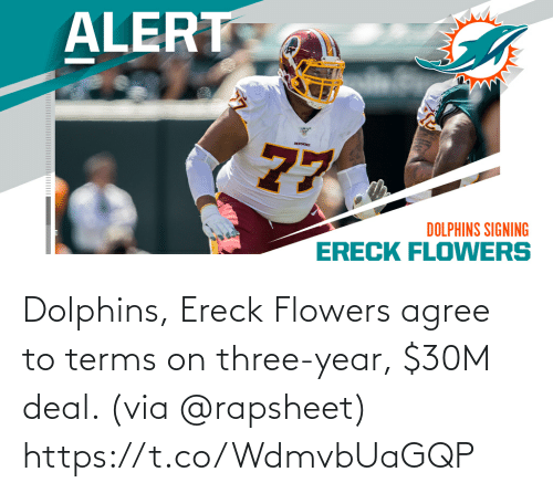 Dolphins: Dolphins, Ereck Flowers agree to terms on three-year, $30M deal. (via @rapsheet) https://t.co/WdmvbUaGQP