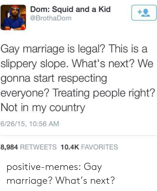 Gay Marriage: Dom: Squid and a Kid  @BrothaDom  Gay marriage is legal? This is a  slippery slope. What's next? We  gonna start respecting  everyone? Treating people right?  Not in my country  6/26/15, 10:56 AM  8,984 RETWEETS 10.4K FAVORITES positive-memes:  Gay marriage? What's next?