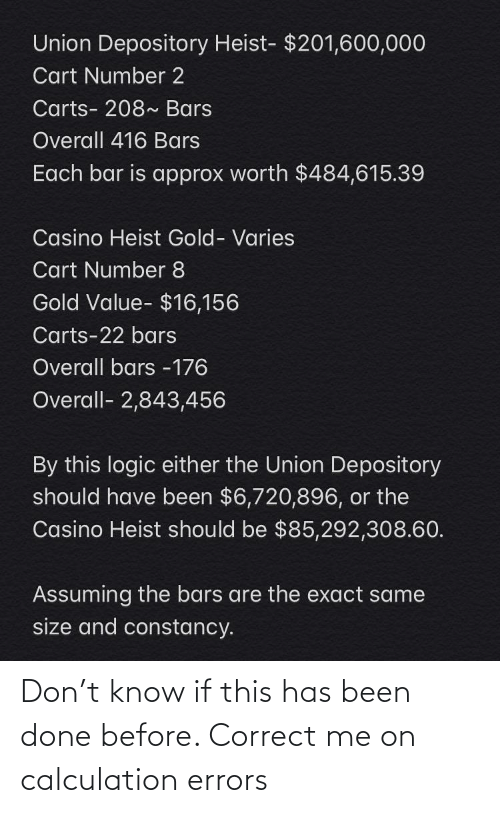 Calculation: Don't know if this has been done before. Correct me on calculation errors