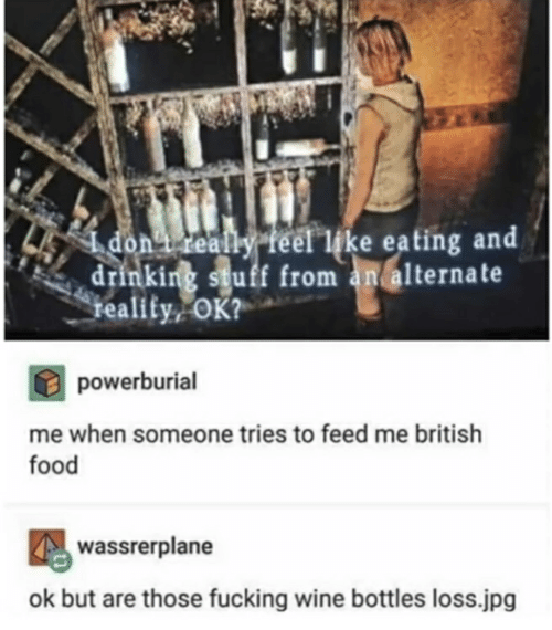 Drinking, Food, and Fucking: don i really feelike eating and  45  drinking stuff from an alternate  reality OK?  powerburial  me when someone tries to feed me british  food  wassrerplane  ok but are those fucking wine bottles loss.jpg