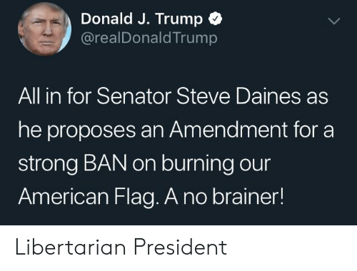 American, American Flag, and Trump: Donald J. Trump  @realDonaldTrump  All in for Senator Steve Daines as  he proposes an Amendment for a  strong BAN on burning our  American Flag. A no brainer! Libertarian President