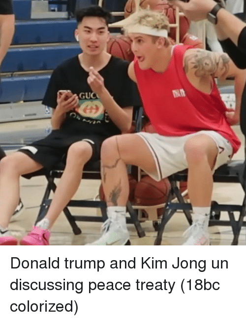 Donald Trump, Kim Jong-Un, and Trump: Donald trump and Kim Jong un discussing peace treaty (18bc colorized)
