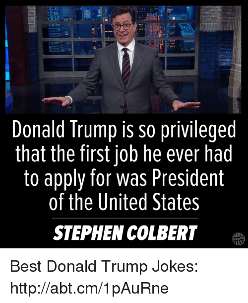 Memes, Stephen, and Jobs: Donald Trump is so privileged  that the first job he ever had  to apply for was President  of the United States  STEPHEN COLBERT Best Donald Trump Jokes: http://abt.cm/1pAuRne