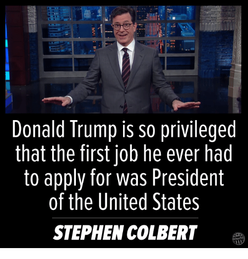 Memes, Stephen, and Jobs: Donald Trump is so privileged  that the first job he ever had  to apply for was President  of the United States  STEPHEN COLBERT