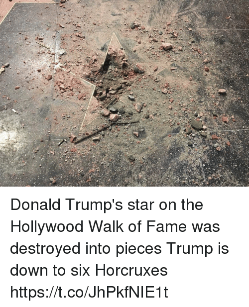 Donald Trumps: Donald Trump's star on the Hollywood Walk of Fame was destroyed into pieces  Trump is down to six Horcruxes https://t.co/JhPkfNIE1t